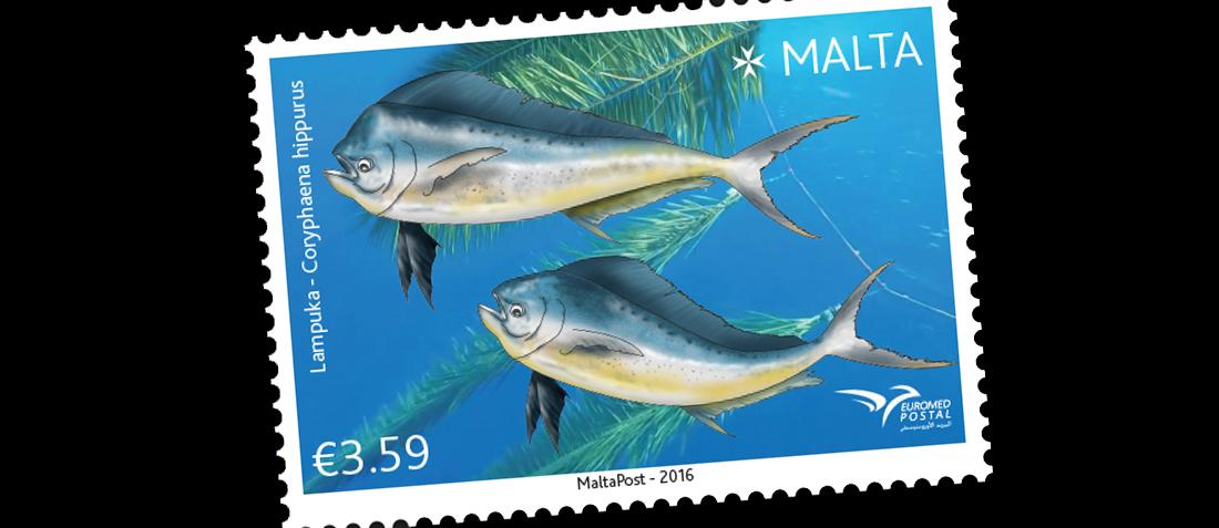 马耳他7月9日发行Euromed2016主题地中海的鱼邮票