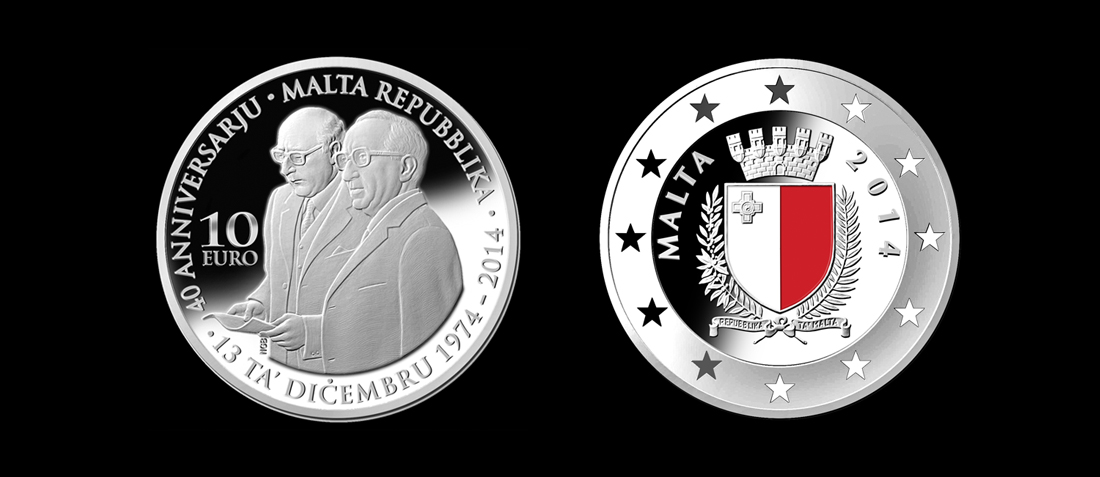 Maltapost Philately Silver Coin 40 Years Republic Of