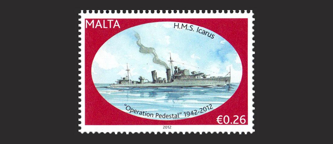 Maltapost Philately - H M S  Icarus stamp Pedestal 2012